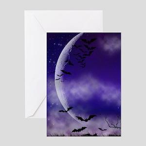Purple Full Moon Night Bats Greeting Cards
