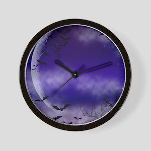 Purple Full Moon Night Bats Wall Clock