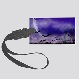Purple Full Moon Night Bats Large Luggage Tag