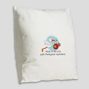 stork baby port 2 Burlap Throw Pillow