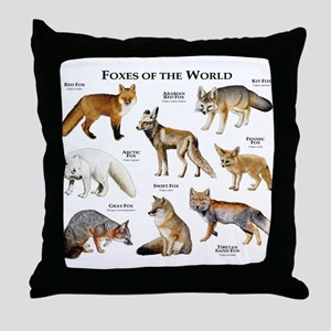 Foxes of the World Throw Pillow