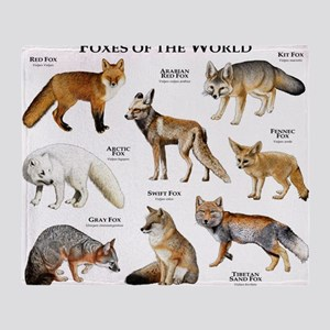 Foxes of the World Throw Blanket