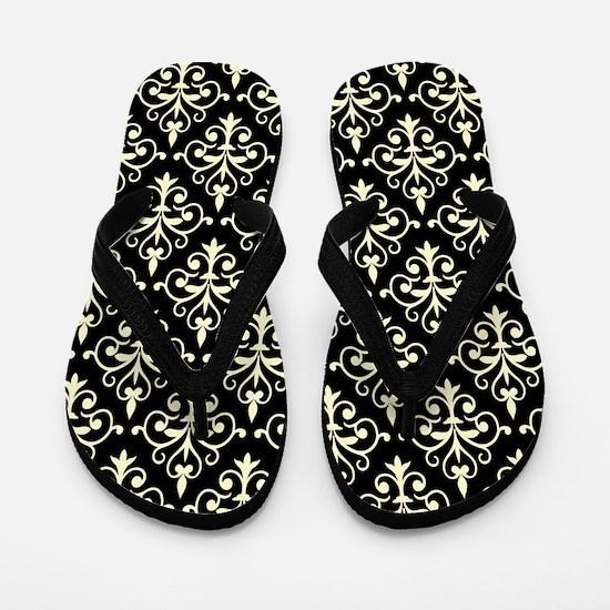 Cream & Black Damask 41 Flip Flops