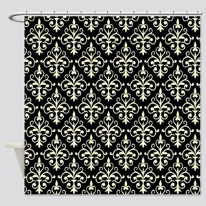 Cream & Black Damask 41 Shower Curtain
