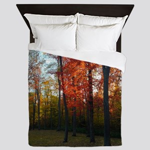 Fall Trees & Picnic Table Queen Duvet