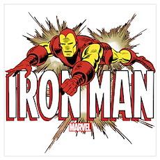 Iron Man Flying Wall Art Poster