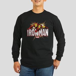 Iron Man Flying Long Sleeve Dark T-Shirt