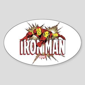 Iron Man Flying Sticker (Oval)