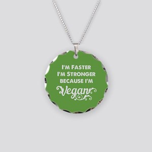 Stronger Vegan Necklace Circle Charm