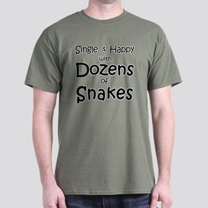 Single & Happy With Snakes Men's Dark T-Shirt