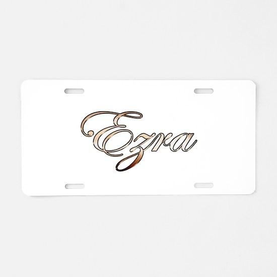 Gold Ezra Aluminum License Plate