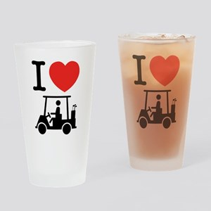 I Heart (Love) Golf Cart Drinking Glass