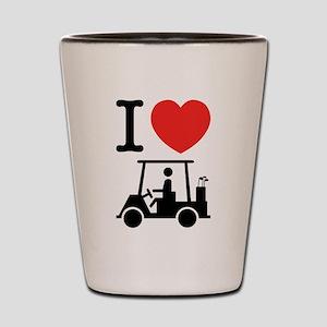 I Heart (Love) Golf Cart Shot Glass