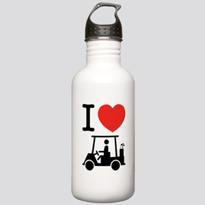 I Heart (Love) Golf Cart Sports Water Bottle