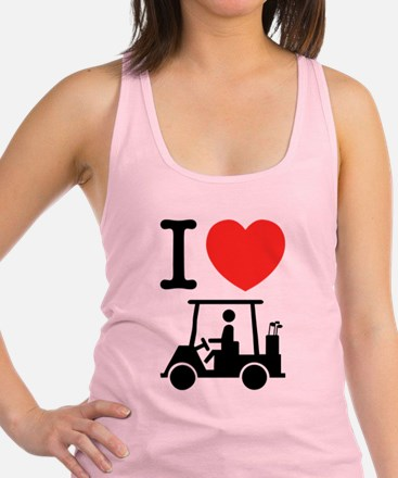 I Heart (Love) Golf Cart Racerback Tank Top
