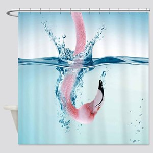 Funny Pink Flamingo Shower Curtain
