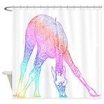 Rainbow Giraffe Shower Curtain