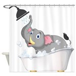 Cute Elephant In Bubble Bath Shower Curtain