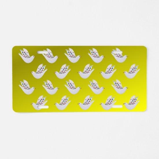 Radiant Decorative Doves Aluminum License Plate