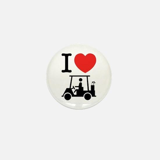 I Heart (Love) Golf Cart Mini Button