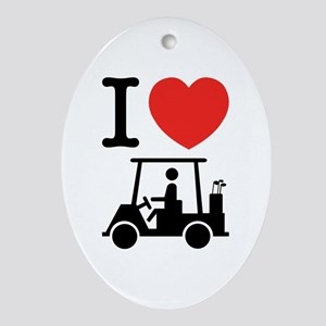 I Heart (Love) Golf Cart Ornament (Oval)