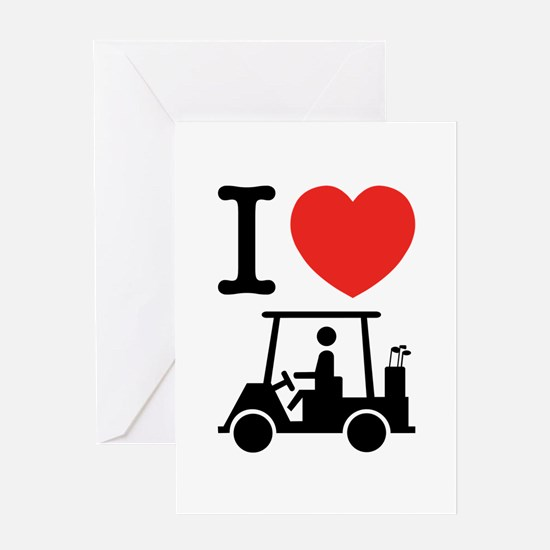 I Heart (Love) Golf Cart Greeting Cards