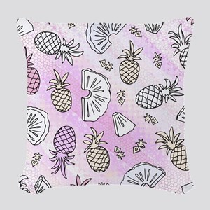 Pink Pineapples Woven Throw Pillow