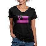 Female Flag Women's V-Neck Dark T-Shirt