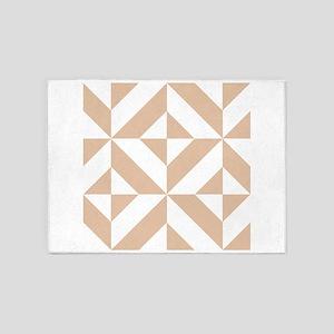 Warm Beige Geometric Cube Pattern 5'x7'Area Rug