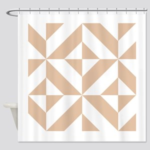 Warm Beige Geometric Cube Pattern Shower Curtain