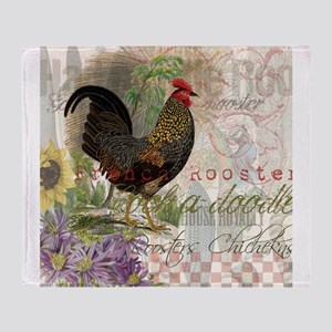 French Rooster Crowing Vintage Country Throw Blank