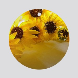 Backlit Sunflowers Ornament (Round)