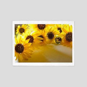 Backlit Sunflowers 5'x7'Area Rug