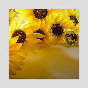 Backlit Sunflowers Queen Duvet