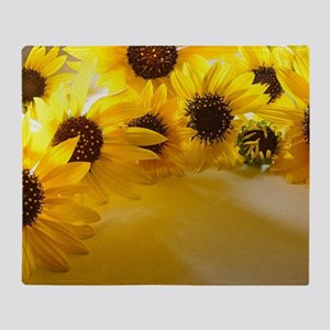 Backlit Sunflowers Throw Blanket