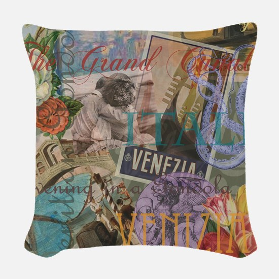 Venice Trendy Italian Travel Collage Woven Throw P
