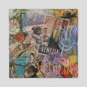 Venice Trendy Italian Travel Collage Queen Duvet