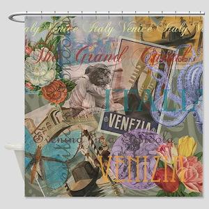 Venice Trendy Italian Travel Collage Shower Curtai