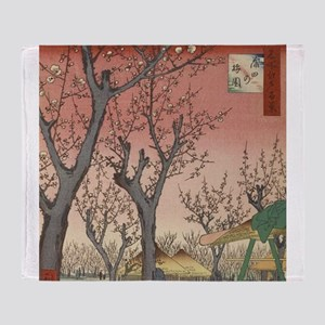 Vintage Cherry Blossoms Japanese Woodblock Throw B
