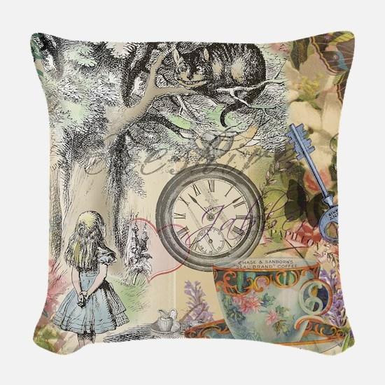 Cheshire Cat Alice in Wonderland Woven Throw Pillo