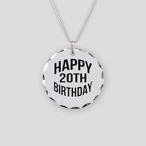 Happy 20th Birthday Necklace Circle Charm