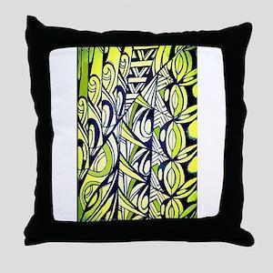 Tapa Green Throw Pillow