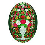 Floral Ceramic Oval Ornament