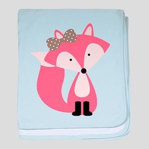 Cute Pink Fox baby blanket