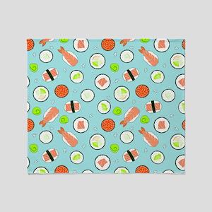 Cute Cartoon Sushi Pattern Blue Throw Blanket