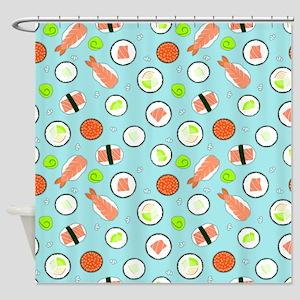 Cute Cartoon Sushi Pattern Blue Shower Curtain