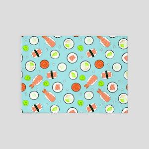 Cute Cartoon Sushi Pattern Blue 5'x7'Area Rug