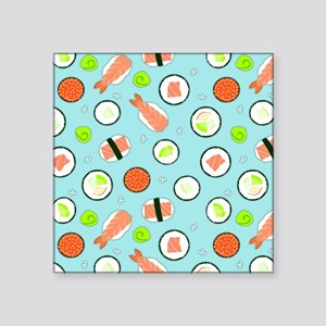 """Cute Cartoon Sushi Pattern Square Sticker 3"""" x 3"""""""