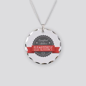 Certified Elementary Addict Necklace Circle Charm