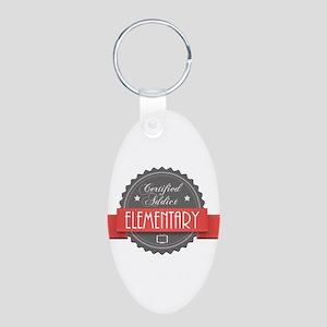 Certified Elementary Addict Aluminum Oval Keychain